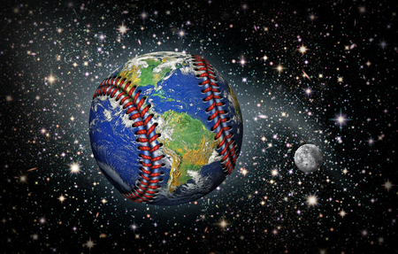 3D Illustration of the planet earth as a baseball with stars and the moon in the background.