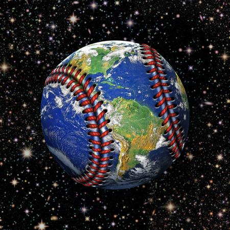 バック グラウンドで星と野球と惑星の地球の 3 D イラストレーション。 写真素材