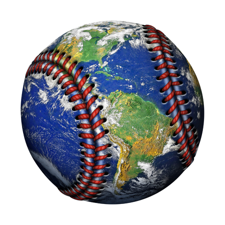 3D Illustration of the planet earth as a baseball isolated against a white background.