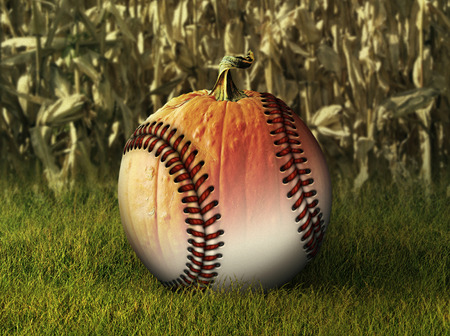 Photo Illustration of a half baseball half pumpkin with a corn field in the background.