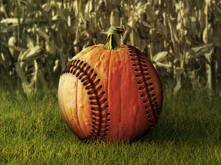 Photo Illustration of a pumpkin retouched as a baseball with a corn field in the background.