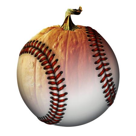Photo Illustration of a half pumpkin half baseball.