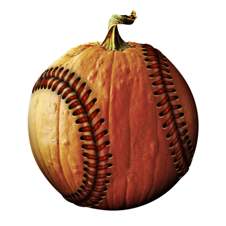 Photo Illustration of a pumpkin retouched as a baseball.