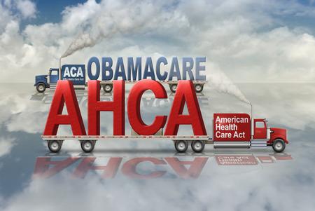 Gezondheidsplannen van de Verenigde Staten door Democraten, Obamacare, en door de Republikeinen, American Health Care Act, uitgevoerd in en uit op twee flatbed trucks. 3D illustratie