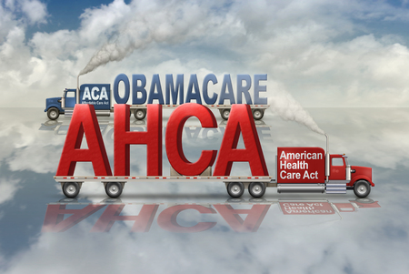 United States Health Care plans by Democrats, Obamacare, and by Republicans, American Health Care Act, carried in and out on two flatbed trucks. 3D Illustration