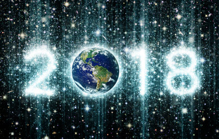 The year 2018 with Earth as the zero and the other three numbers illustrated as star clusters. 3D Illustration. Earth image: Courtesy: NASA