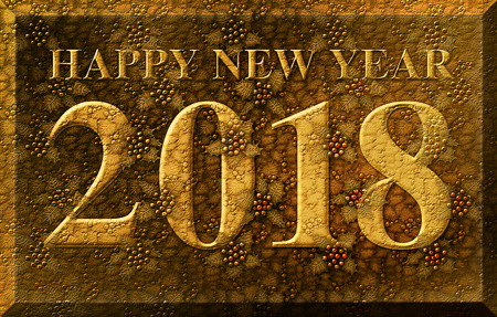 Gold leaf like 3D illustration of the words Happy New Year 2018 integrated with a background of Holly plants.