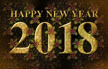 3D illustration of the words Happy New Year 2018 integrated with a background of Holly plants.