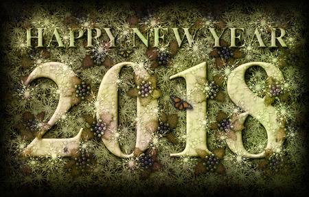 3D illustration of the words Happy New Year 2018 integrated with a background of Holly plants, snow flakes, and some insects.
