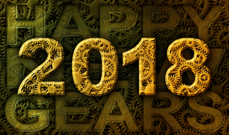 The year 2018 and the words Happy New Gears illustrated with a pattern of interlocking gears.