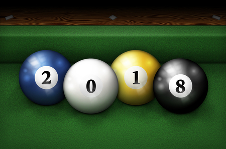 The year 2018 spelled out with pool balls on a billiards table. 3D Illustration