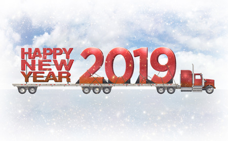 Giant Red Happy New Year and 2019 on a flatbed truck set against a cloudy snowy background. 3D illustration Stock Photo