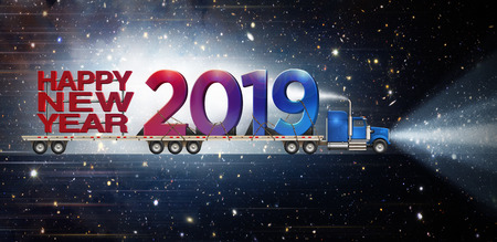 Giant Happy New Year and 2019 on a semi truck flatbed set against a starry night sky background.  3D illustration Stock Photo