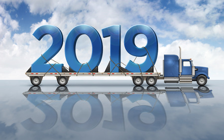 3D illustration of the year 2019 on a flatbed truck set on a reflective surface with a sky background. Stock Photo