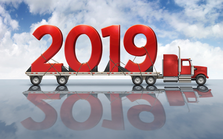 3D illustration of the year 2019 on a flatbed truck set on a reflective surface with a sky background. Archivio Fotografico