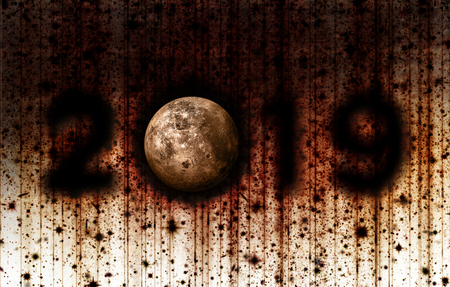 The Year 2019 and the Moon presented in a grunge style with dark shadows, reds, and yellows. Archivio Fotografico