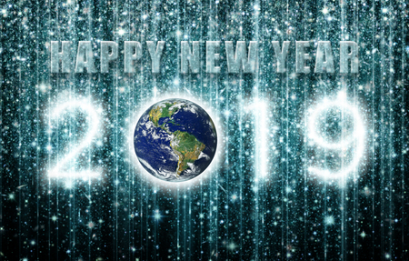 Happy New Year 2019 is created out of clusters of stars and against a star filled night sky with verical strings of light.