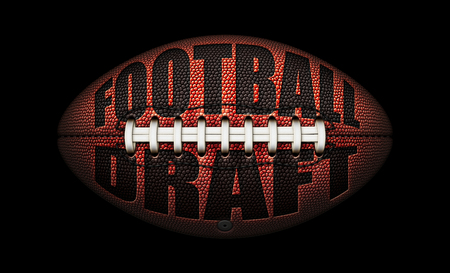 "American football with the words ""Football Draft� embossed onto a football on top of a black background. 3D Illustration"