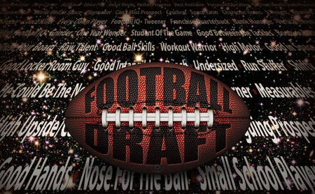 "American football with the words ""Football Draft� embossed onto a football on top of written player traits on a starry background. 3D Illustration"