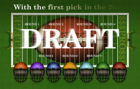 Banner highlighting the College Player Draft for Professional American football with a football, the playing field, seven rounds, and seven differently colored helmets. 3D Illustration