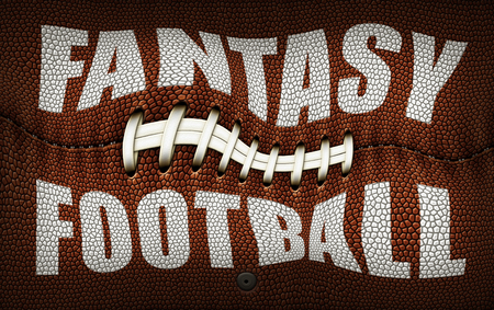 The words Fantasy Football created in white on top of a flattened Football. Twisted and Distorted. 3D Illustration Stock Photo