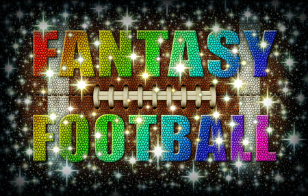 The words Fantasy Football created in rainbow colors on top of a Star Covered flattened Football. 3D Illustration