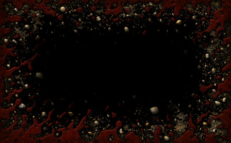 Decorative Border composed of  blood, dirt, and rocks. with a black background.  3D Illustration Archivio Fotografico