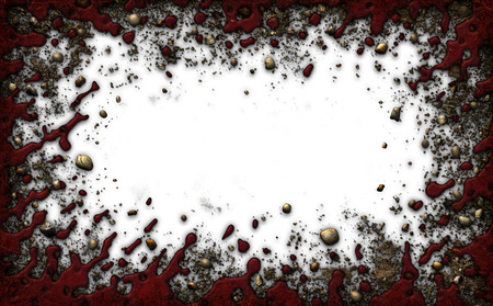 Decorative Border composed of  blood, dirt, and rocks. with a white background.  3D Illustration Archivio Fotografico
