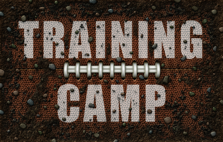 A flattened football design covered with dirt and rocks; with the words Training Camp painted on in white. 3D Illustration Stock Photo