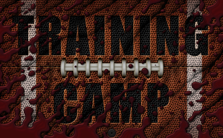 A flattened football design with blood and gashes and embossed with the words Training Camp. 3D Illustration