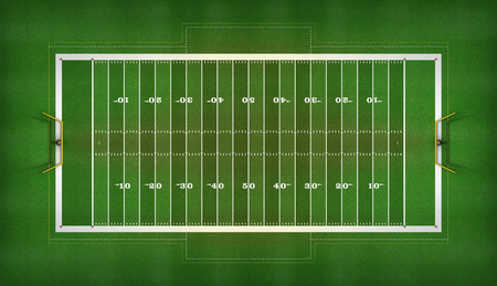Top View of an American football field. with all chalk lines, yard numbers, and goal posts. 3D Illustration