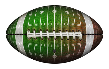 Isolated football with the leather replaced by the grass, yard lines and numbers of a playing field. 3D Illustration