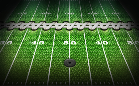 A football field with the grass replaced by the texture, laces, type and and air valve of a football. 3D Illustration Stock Photo