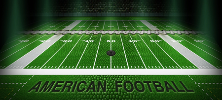 """A football field with the grass replaced by the texture, laces, type and and air valve of a football. The words """"American Football"""" are embossed into the sideline. 3D Illustration"""