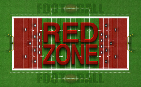 Digital Illustration of the top view of an American football field with color and text illustrating the Red Zones. 3D Illustration Stock Photo