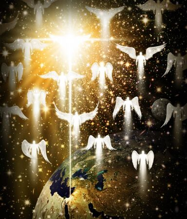 Digital illustration of the Christmas star and angels over the earth and Bethlehem.. Space and stars are digitally illustrated.