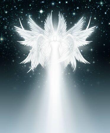 Digital illustration of an Multi Winged angel in the night sky full of stars.