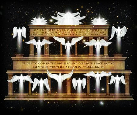 A Multitude of Angels Celebrate the Birth of Christ. They are assembled in a temple like edifice against a starry night sky. 3D Illustration Archivio Fotografico