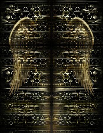 Angel wing superimposed over a background pattern made from clarinet parts, which is split into four parts to create a recessed shape of a cross. 3D Photo Illustration