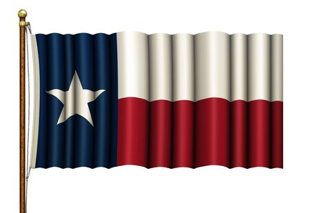 Stylized Texas flag waving from a wood and brass flag pole. 3D illustration Stock Photo
