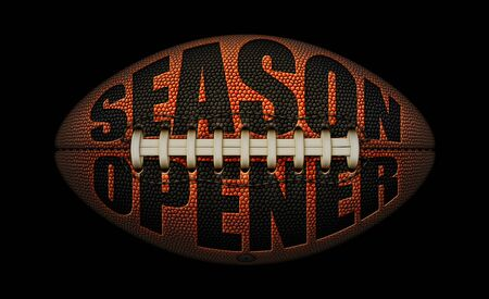 An American football on a black background with the words SEASON OPENER embossed in black. 3D Illustration