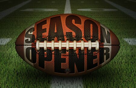 Digital illustration of an american football embossed with the words Season Opener, on the 50 yard line. 3D Illustration