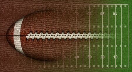 3D Illustration of a football, leather texture, laces, and a football field to use as a background for text or other graphics.