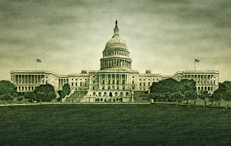 Photo illustration of the U.S. capitol building, extracted from the U.S. fifty dollar bill.