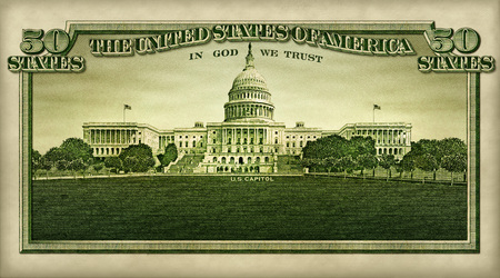 Photo illustration of the U.S. capitol building and the words 50 States, all extracted from the U.S. fifty dollar bill. Editoriali