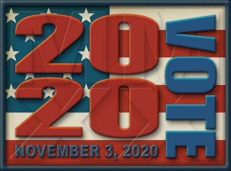 The year 2020 with VOTE and NOVEMBER 3, 2020 spelled out on top a framed partial United States Flag.  3D Illustration Stock Photo
