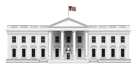 Simple north view of the White House, with U.S. flag waving overhead, including front porch with hanging lamp; isolated. 3D Illustration Stock Photo