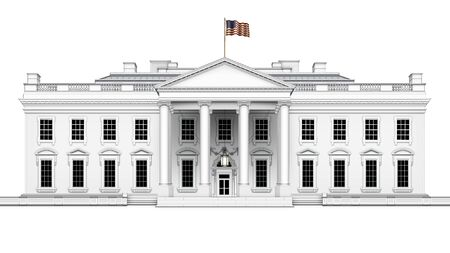 North view of the White House, with U.S. flag waving overhead, including front porch with hanging lamp; isolated. 3D Illustration