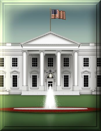 Beveled and Embossed Vertical cropped north view of the White House, with simple blue sky, green ground, and fountain. 3D Illustration