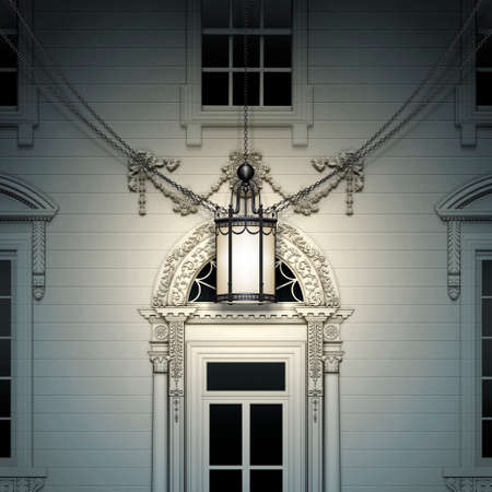 Close up view of the Front Door of  the White House,  with hanging lamp. 3D Illustration